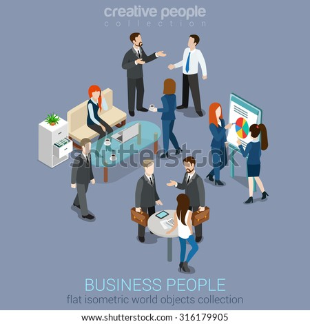Flat 3d web isometric office room interior businessmen collaboration teamwork brainstorming waiting meeting negotiation infographic concept vector set. Creative people collection - stock vector