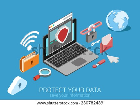 Flat 3d web isometric online safety, data protection, secure connection, cryptography, antivirus, firewall, cloud file exchange, internet security infographic concept vector. Laptop encrypt interface. - stock vector