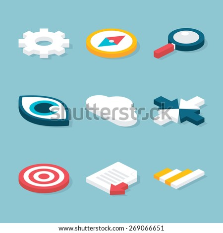 Flat 3D Website Isometric Objects Set. Vector Website and Business Concepts Icons Set - stock vector