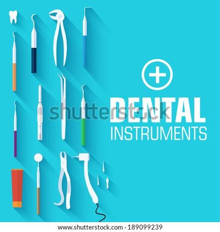 flat dental instruments set design concept. Vector illustration  - stock vector