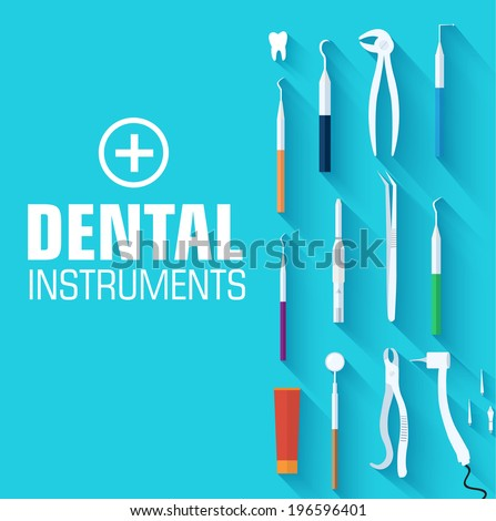 flat dental instruments set design concept. Vector illustration - stock vector