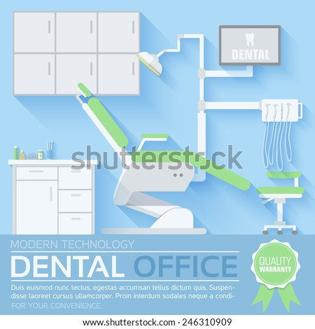 flat dentist office illustration design background. Template for website and mobile appliance concept - stock vector