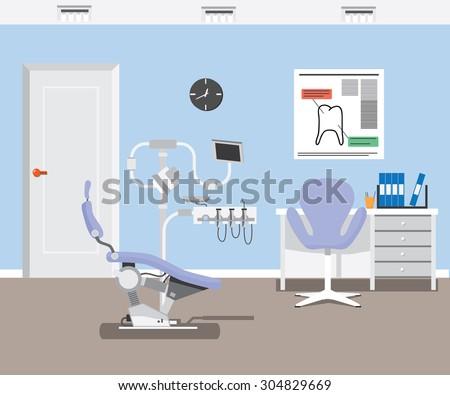 flat dentist office illustration design background.  vector EPS - stock vector