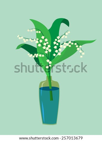 Flat design. A valley lily in a vase. Vector illustration - stock vector