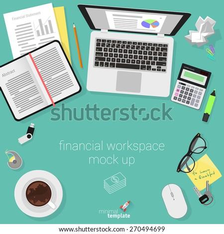 Flat design accountant workspace. Minimalist vector.  - stock vector