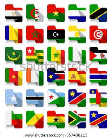 Flat Design African Waving Flags.All elements are separated in editable layers clearly labeled.