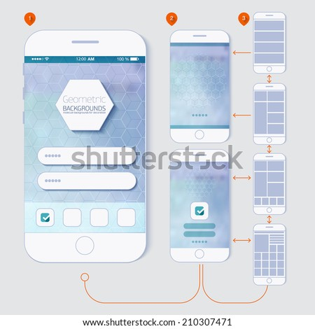 Flat design and ui web elements for mobile app and website. UI flat  web elements schematic diagram of the application development for you. - stock vector