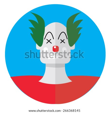 Flat design angry punk clown icon - stock vector