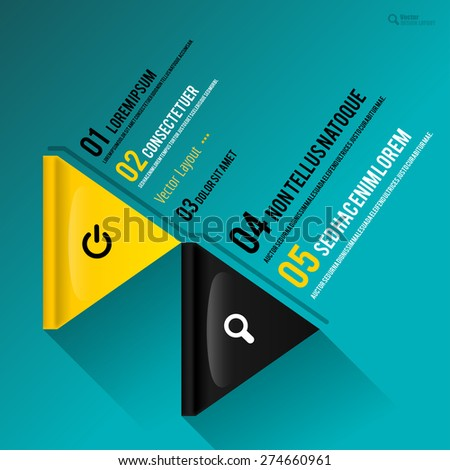 Flat design as yellow and black triangles with sample texts. Vector page layout. - stock vector