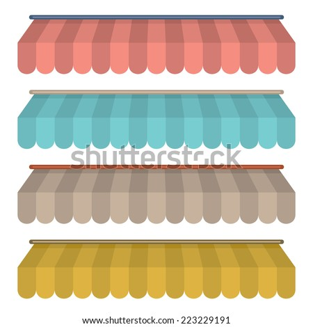 Flat Design Awning Set Vintage Style Vector Illustration - stock vector