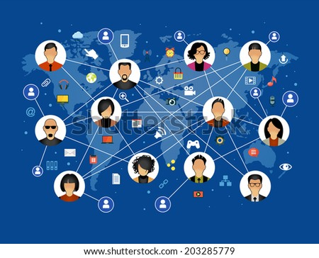 Flat design background the Communications in a global computer network. Avatars set on world map background surrounded interface icons. Social media concept. File is saved in AI10 EPS version. - stock vector