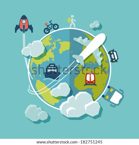 Flat design background. Travel around the world - stock vector