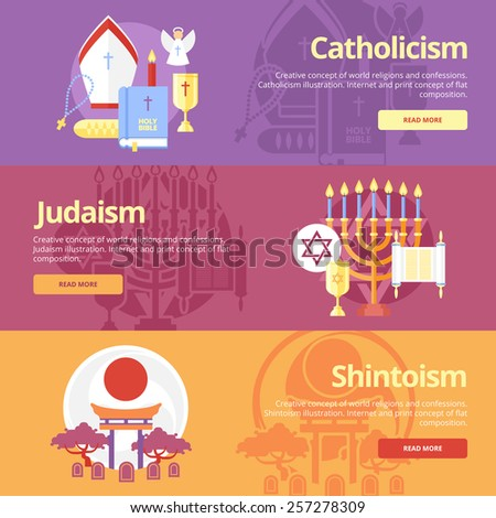 Flat design banner concepts for catholicism, judaism, shintoism. Religion concepts for web banners and print materials.  - stock vector