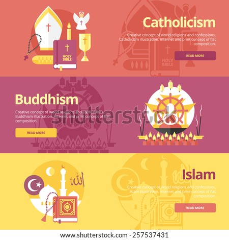 Flat design banner concepts for islam, buddhism, catholicism. Religion concepts for web banners and print materials. The 'allah' text in Arabian. - stock vector