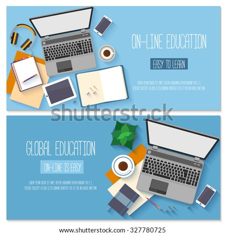 Flat design banners for online education, training courses, e-learning, distance trainings. Vector illustration. - stock vector