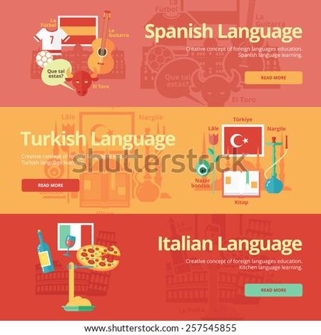 Flat design banners for spanish, turkish, italian. Foreign languages education concepts. 'Football, guitar, bull, 'how are you' in Spanish. 'Tulip, turkey, hookah, mascot, book' in Turkish. - stock vector