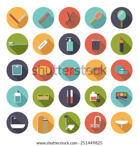 Flat Design Bath and Beauty Vector Icons Collection. Set of 25 bath and beauty related icons in circles, flat design, long shadow - stock vector