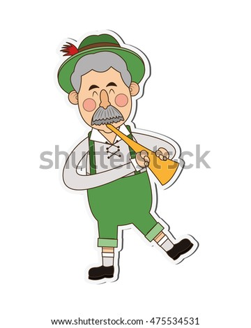 flat design bavarian musician icon vector illustration