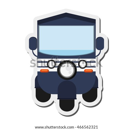 flat design blue rickshaw or tuk tuk icon vector illustration