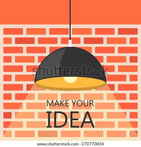 Flat Design Brick Wall And Ceiling Lamp Single Spotlight Grunge Retro Vintage Interior
