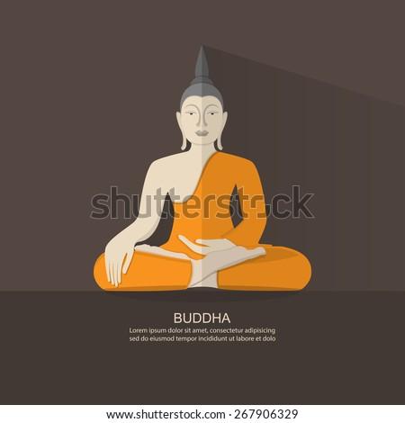 Flat Design Buddha.Vector - stock vector
