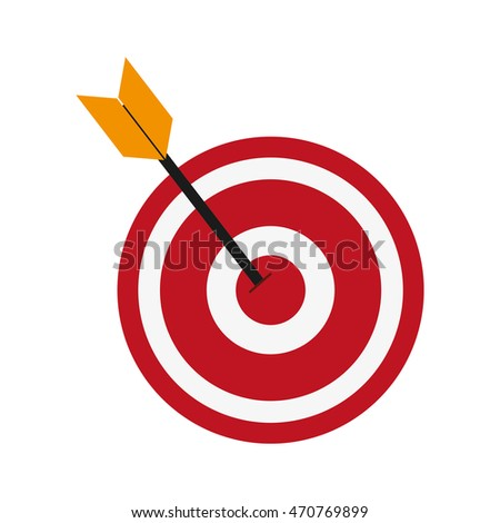 flat design bullseye and arrow icon vector illustration