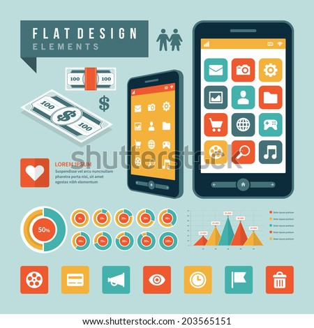 Flat design business concept social media design elements. Objects, icons and symbols for web banners and mobile phone applications.  - stock vector