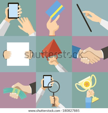 Flat Design Business Hands Holding Paper for Advertising Announcement Vector Illustration - stock vector