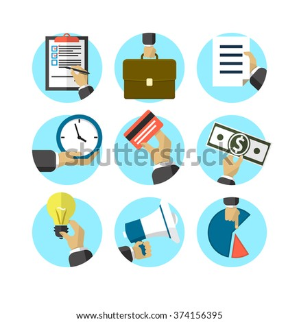 Flat design business icons / Hand in business situations - stock vector