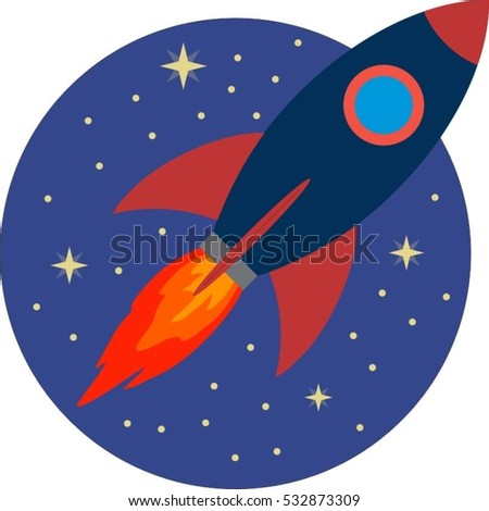 Flat design business startup concept Space travel, rocket launch Flat design modern vector illustration concept, new business project start-up development and launch a new innovation on market.