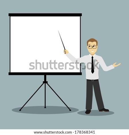 flat design businessman pointing presentation board vector - stock vector