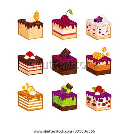 Flat design cake piece icons with flavor decor. Cartoon cakes flavour vector illustration. Cake slice isolated set. Birthday cake order infogaphics.  Pieces of cake. Chocolate, berries, tiramisu - stock vector
