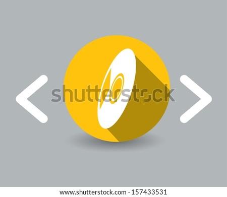 flat design cd icon - stock vector