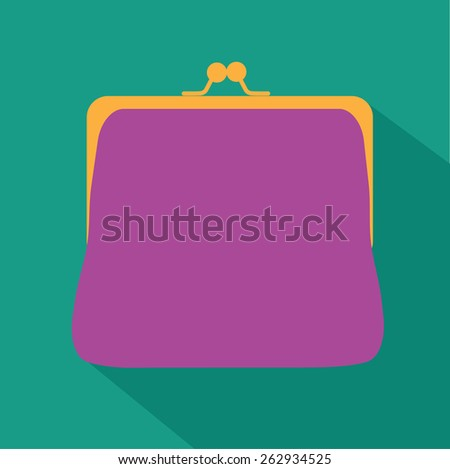 Flat design change purse. EPS 10 vector Royalty free stock illustration for ads, marketing, poster, flyer, blog, article, social media, signage, web page, greeting card - stock vector