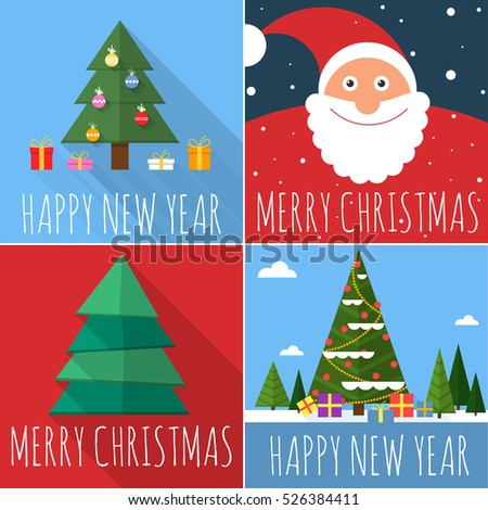 Flat design Christmas and New Year greeting card vector template set