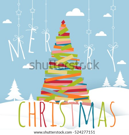 Flat design Christmas and New Year tree greeting card vector template with decorated Christmas tree in the snowy landscape.