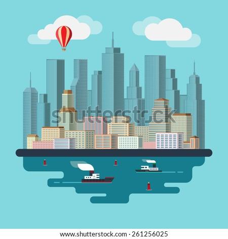 Flat design city landscape illustration - stock vector