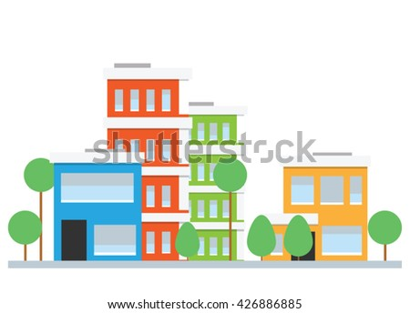Flat design city street. Vector houses