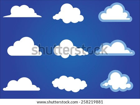 Flat design cloud collection. Vector illustration - stock vector