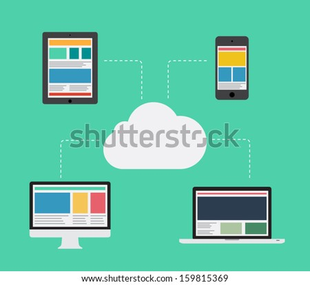 Flat design cloud computing with devices elements concept illustration for websites, background or business design. Phone, smartphone, tablet, computer, connection - stock vector