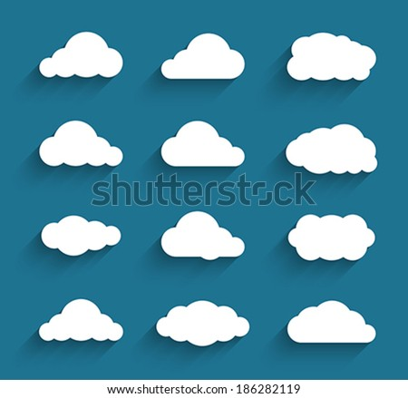 Flat design cloudscapes collection. Flat shadows. Vector illustration