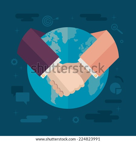 Flat design colored vector illustration concept for international cooperation, collaboration, partnership, global business isolated on stylish background - stock vector