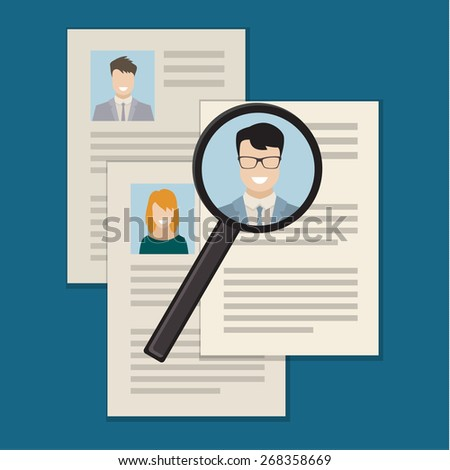 Flat design colored vector illustration concept of searching professional staff, analyzing personnel resume, recruitment, human resources management, work of hr.  - stock vector