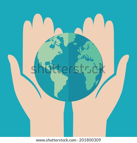 Flat design colored vector illustration of globe in hands. Isolated on bright blue background - stock vector