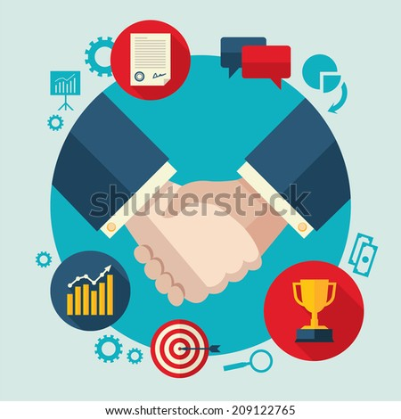 Flat design colored vector illustration of handshake by businessmen, concept for business cooperation, collaboration, partnership isolated on light background - stock vector