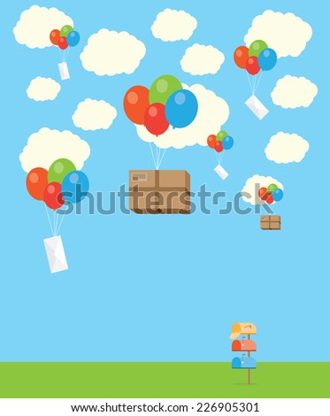 Flat design colored vector illustration of package flying down - stock vector