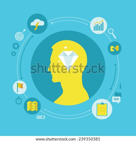 Flat design colorful abstract vector illustration concept for personal development, successful career, selecting efficient and creative employees isolated on bright background - stock vector