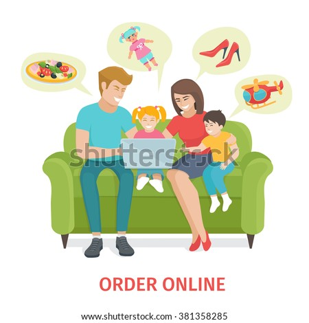 Flat design colorful  concept  for online gifts ordering and delivery service. Cartoon Happy family vector illustration.  Family of four make purchases through the internet sitting on the couch - stock vector