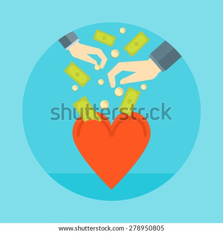 Flat design colorful vector illustration concept for charity, donating money, non profit projects isolated on bright background  - stock vector