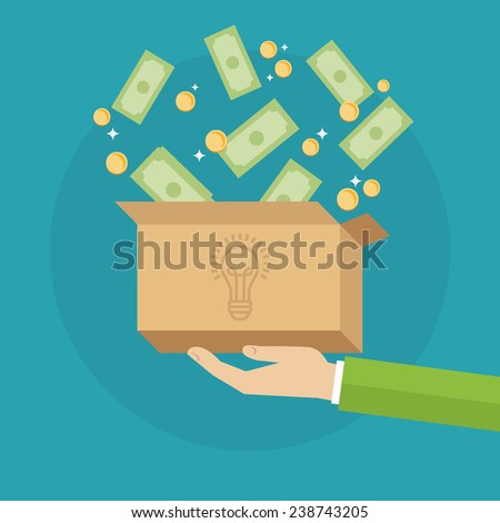 Flat design colorful vector illustration concept for crowdfunding, funding project by raising monetary contributions from crowd of people, investing into ideas isolated on bright background - stock vector